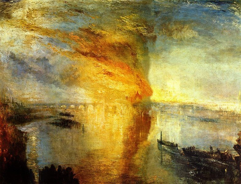 The Burning of the Houses of Parliament by JMW Turner.