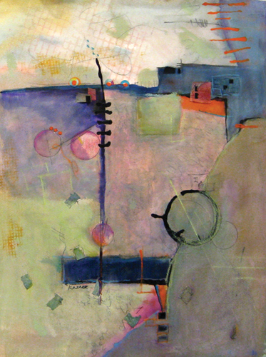 On the Edge (watercolor and mixed media) by Jill Krasner | abstract watercolor