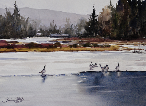 Lining Up (watercolor on paper) by Brienne Brown | plein air painting