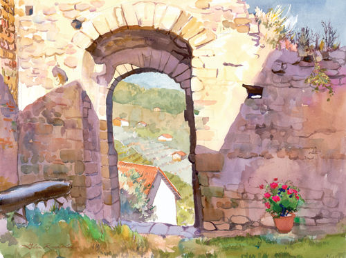 Gateway to Tuscany (watercolor on paper) by Glen Knowles | plein air painting