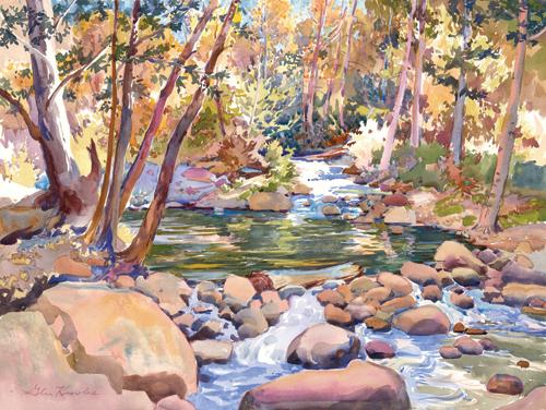 Hidden Pool, Big Rock Creek (watercolor on paper) by Glen Knowles | plein air painting