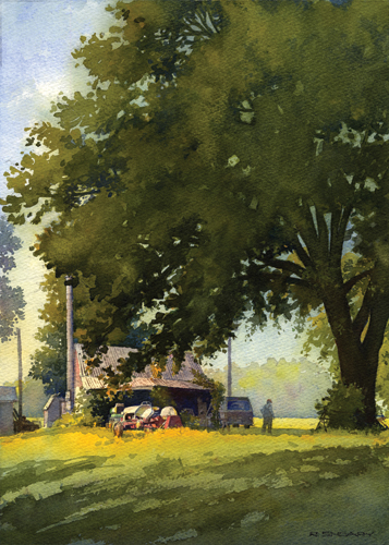 Under the Elm (watercolor on paper) by Richard Sneary | plein air painting