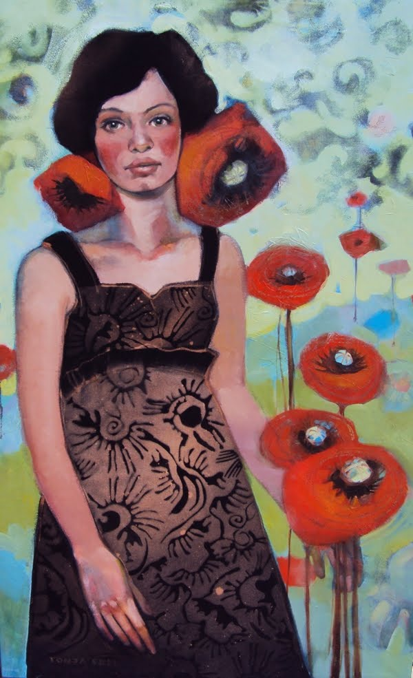 Andie's Poppies by Tonja Sell, acrylic on canvas.