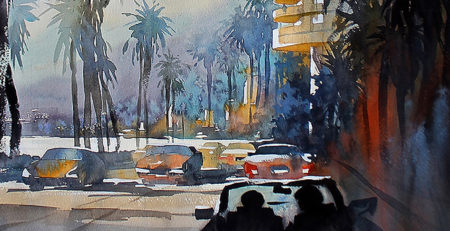 Pacific Coast Highway—Los Angeles, watercolor by Thomas Schaller, detail