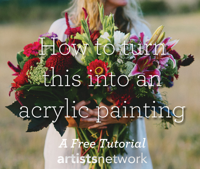 Learn how to paint with acrylics for beginners - save this floral acrylic painting tutorial for later!