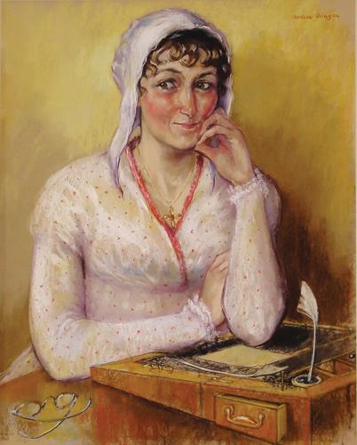 Jane Austen (pastel portrait, 25x20) by Melissa Dring | pastel portrait