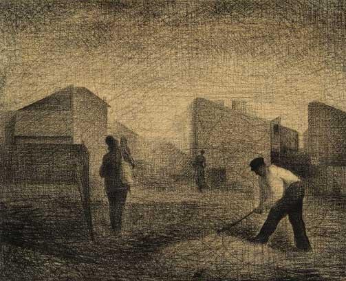 Art composition tips | Stone Breaker, Le Raincy by Georges Seurat, ArtistsNetwork.com