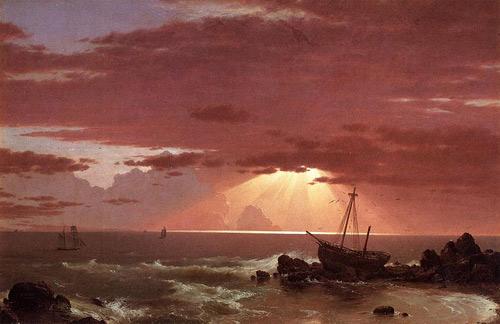 "Frederic Edwin Church, ""The Wreck,"" 1852, oil on canvas, 46 x 30"