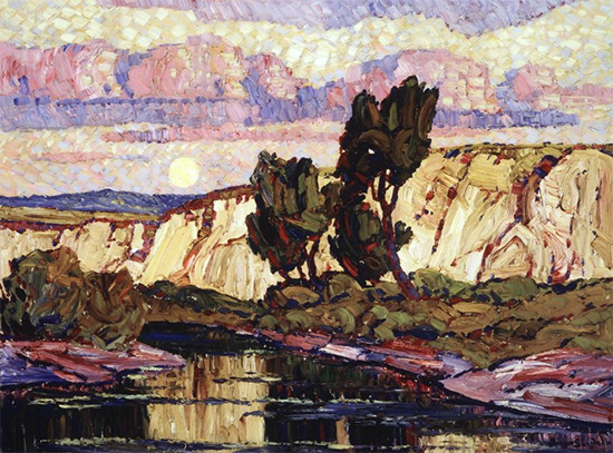 Creek at Moonrise by Birger Sandzén, ca. 1921, oil painting.