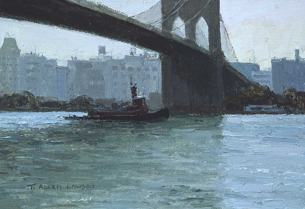 The Brooklyn Bridge by T. Allen Lawson, 2002, oil painting, 7 x 10.