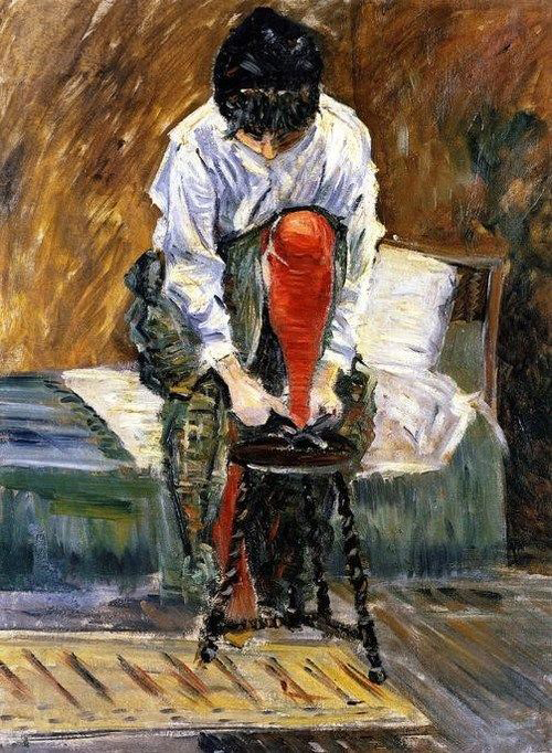 The Red Stocking by Paul Signac, 1883, oil on canvas.