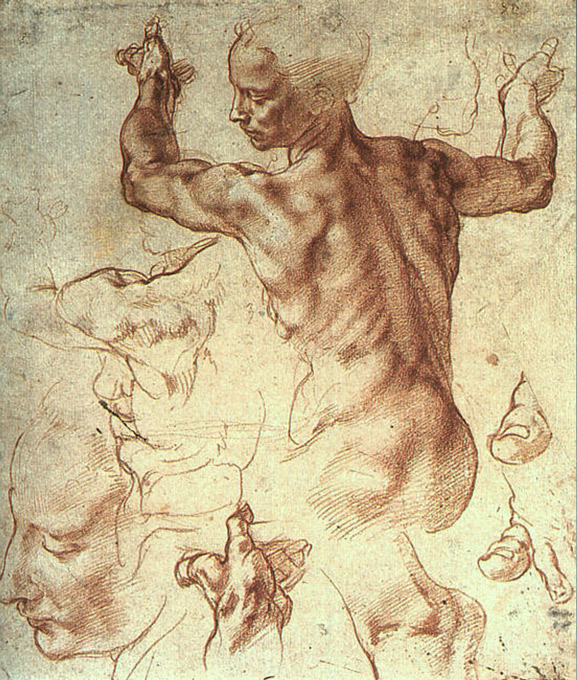 One of Michelangelo's sketches for figures in the Sistine Chapel.