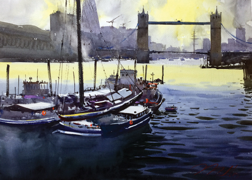 Evening On the Thames (watercolor on paper) by Dan Marshall | watercolor landscapes