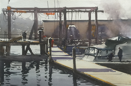 Morning On the Dock (watercolor on paper) by Dan Marshall | watercolor landscapes