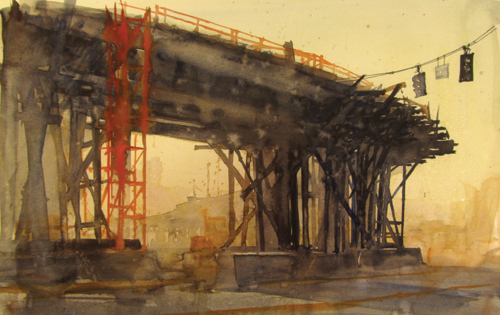 Formwork #6 (watercolor on paper, 12x19) by Bill Hook | watercolor painting
