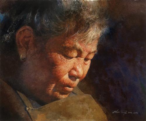 Mother (watercolor on paper, 9x11) by Zhou Tianya | Shenzhen, China
