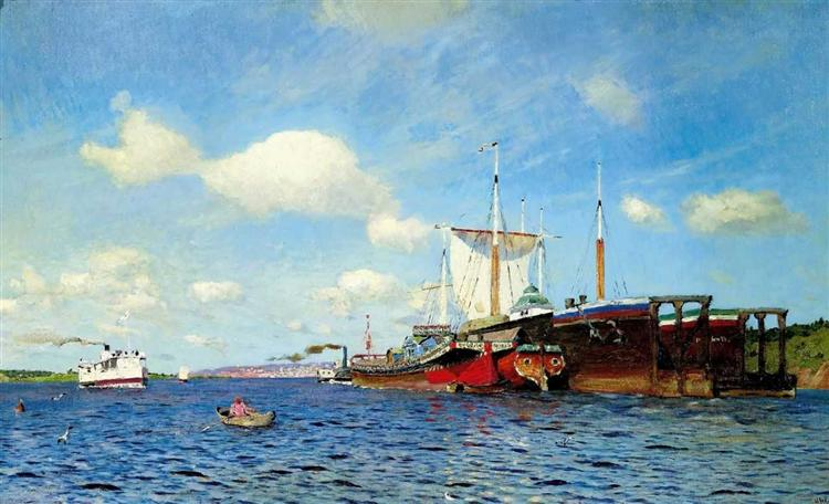 Brisk Wind, Volga by Isaac Levitan, oil painting.