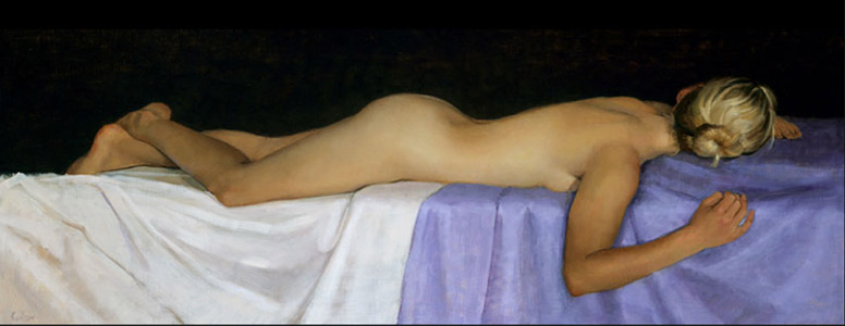 Colleen by Judith Kudlow, oil painting, 16 x 44.