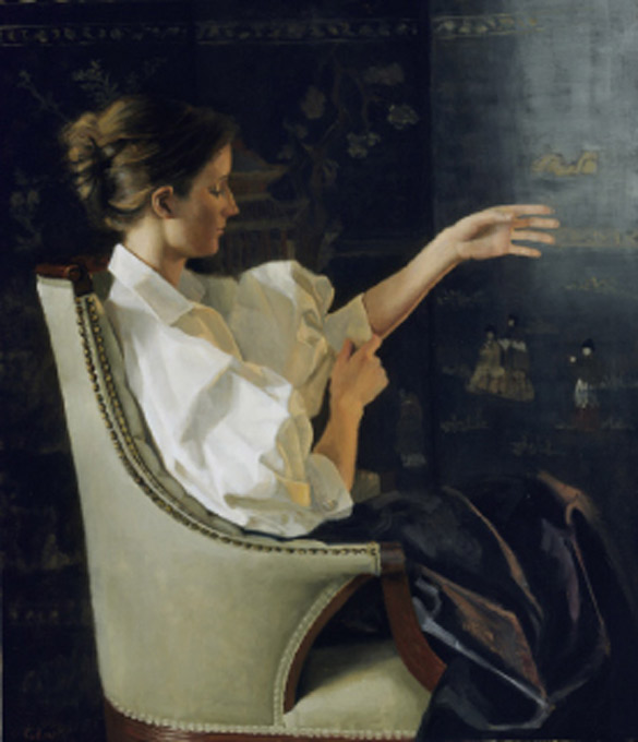 Girl Arranging Her Sleeve by Judith Kudlow, oil painting.