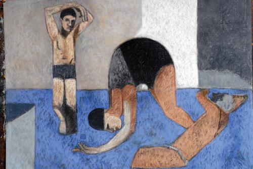 Swimmers (pastel, 21x29) by Robin Warnes | pastel art