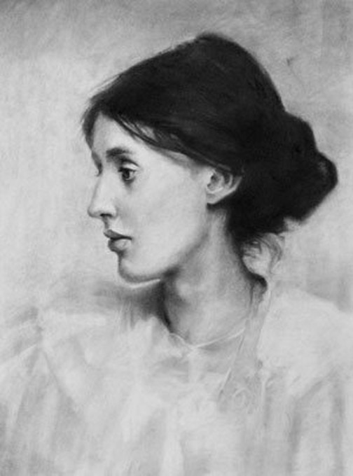 Virginia Wolfe by Jeremy Mann, charcoal portrait drawing on paper, 18 x 24.