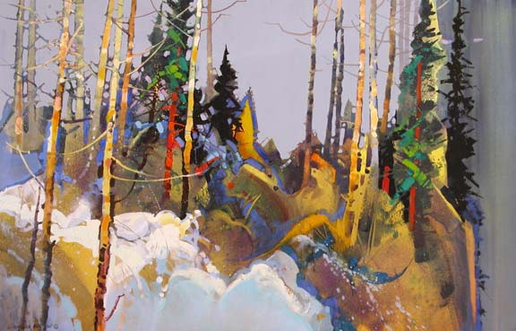 "Flickering Light & Shadow, Ridge Trail by Stephen Quiller, 23"" X 34"", water media."