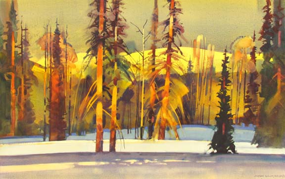 "Late Light on Poxen's Run by Stephen Quiller, 23.5"" X 37.5"", water media."