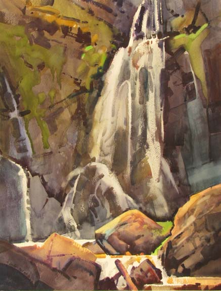 "Portrait of Hidden Falls by Stephen Quiller, 27"" X 20.5"", watercolor painting."