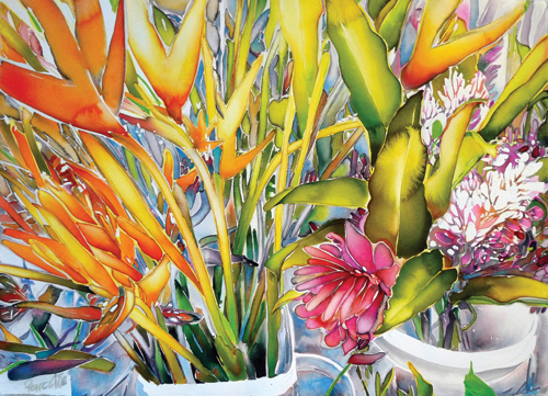 watercolor_floral_Birds-in-Paradise_30x40_Carol_Carter | artistsnetwork.com