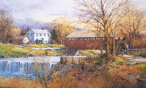 Covered Bridge, Massachusetts (watercolor on paper) by Ian Ramsay | watercolor landscapes