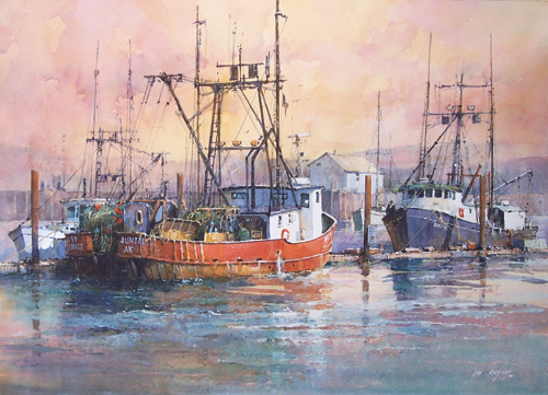 Dawn, Astoria Harbor (watercolor on paper) by Ian Ramsay | watercolor landscapes