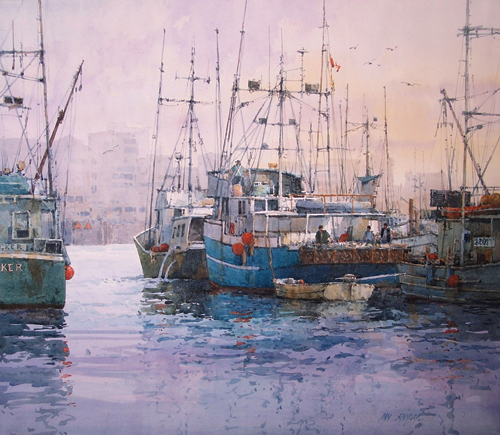 Fishermans' Wharf, Victoria, BC, Canada (watercolor on paper) by Ian Ramsay | watercolor landscapes