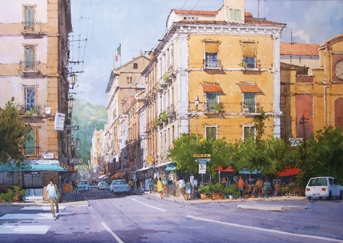 Sorrento Piazza, Tasso, Italy (watercolor on paper) by Ian Ramsay | watercolor landscapes