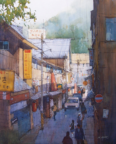 Street Scene, Totorri, Japan (watercolor on paper) by Ian Ramsay | watercolor landscapes
