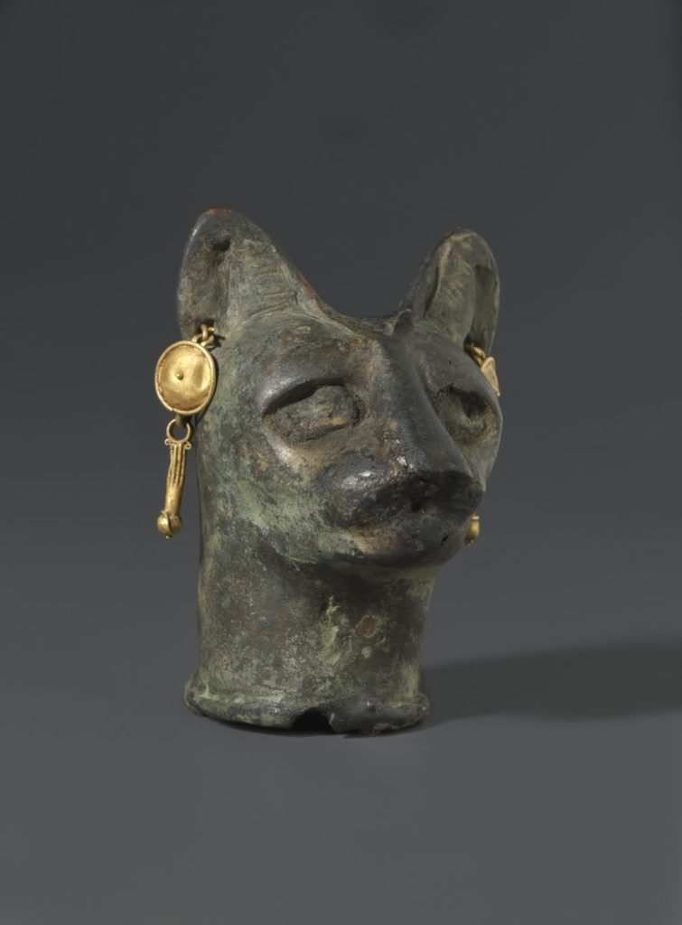 Cat Art: Cat's Head, 30 BC to third century AD Bronze, gold. Brooklyn Museum