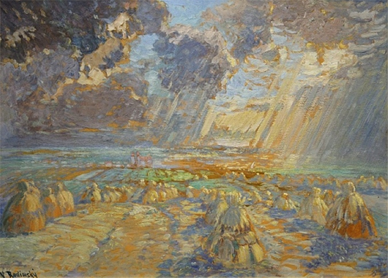 Haystacks in Giverny by Václav Radimsky, Impressionism oil painting, 1900.