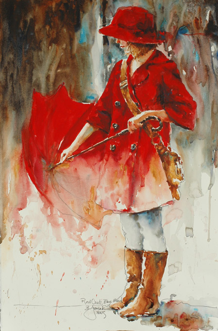 Red Coat Blue Mood by Bev Jozwiak, watercolor painting.