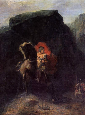 Roland at Roncevaux by Odilon Redon, oil painting, 1868.