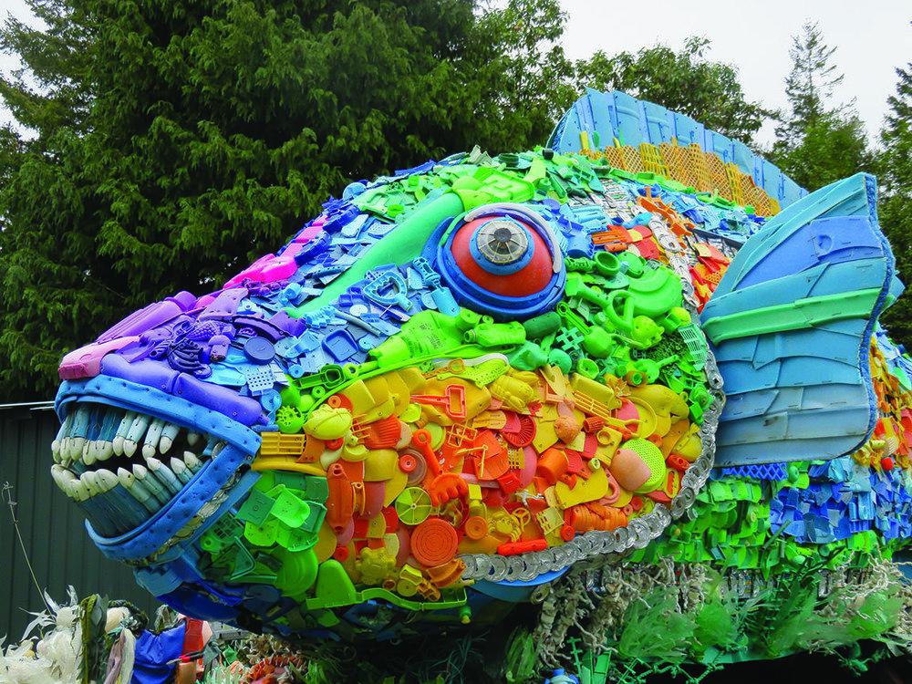 rainbow parrot fish sculptures