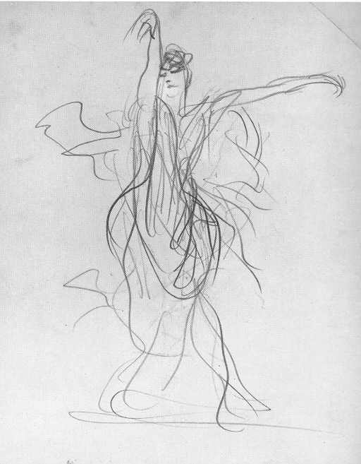Spanish Dancer by John Singer Sargent, pencil drawing.