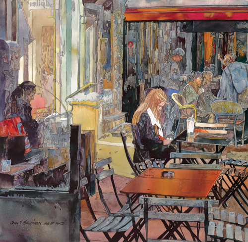Amsterdam Cafe</i> (watercolor on paper, 25x25) by John Salminen | travel paintings