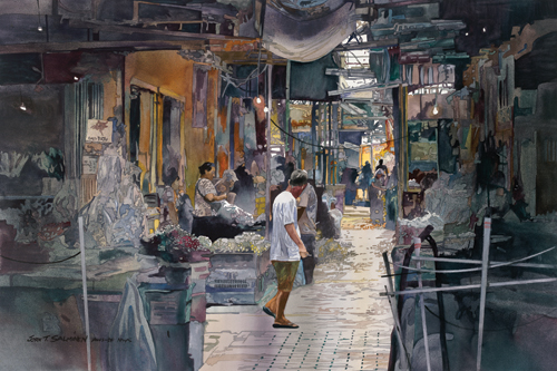 Flower Market (watercolor on paper, 24x36) by John Salminen | travel paintings