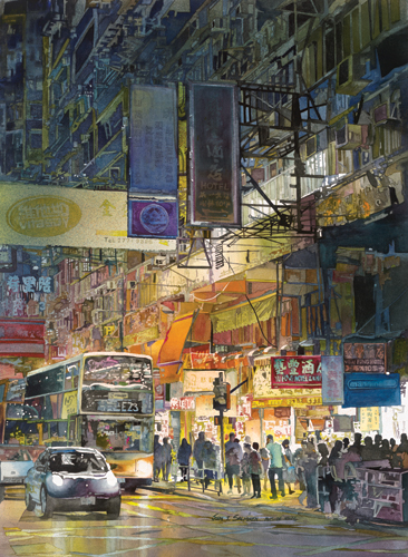 Golden Mile (watercolor on paper, 30x22) by John Salminen | travel paintings