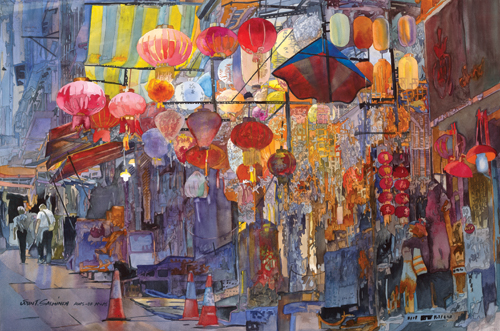 Hong Kong Central (watercolor on paper, 24½x37) by John Salminen | travel paintings