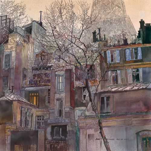 Paris Moods (watercolor on paper, 25x25) by John Salminen | travel paintings