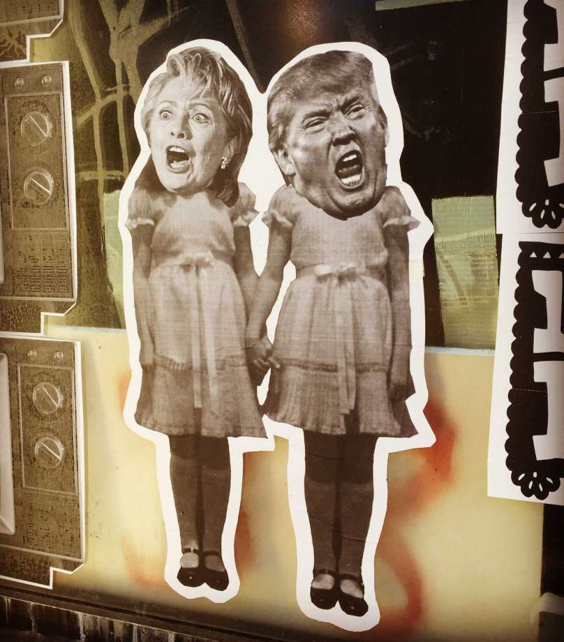 Political art: Hillary Clinton and Donald Trump in street art as twins from the Shining.