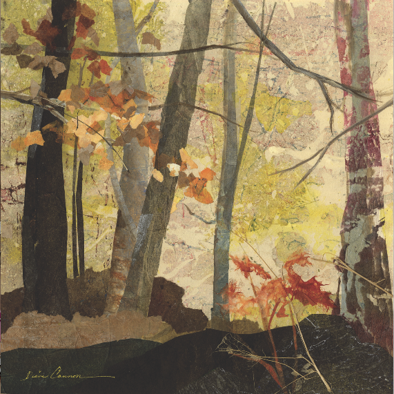 "FALL FROLIC Diane F. Cannon Collage on Mat Board 11"" x 11"""