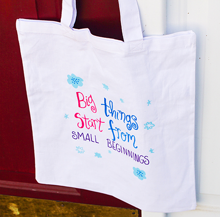 Hand-lettered tote by Emily Cromwell