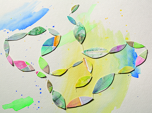 Stitched paper leaves
