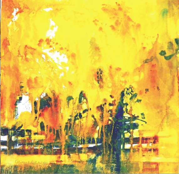 "YELLOW RAIN Jean K. Gill Transparent Watercolor on Paper 18"" x 18"""
